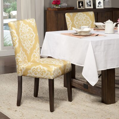 Natane Yellow & Cream Damask Parsons Chair