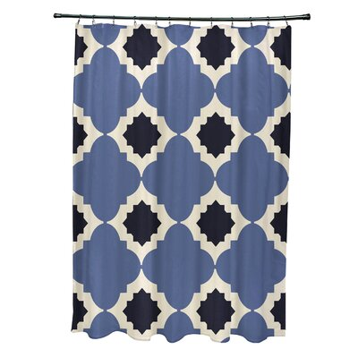 Nikhil Geometric Print Shower Curtain Color: Navy Blue