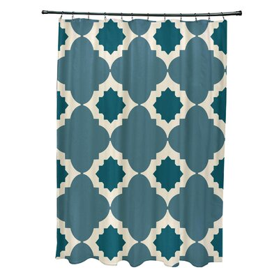 Nikhil Geometric Print Shower Curtain Color: Aqua