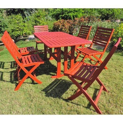 Marmol Acacia 7 Piece Patio Dining Set Color: Barn Red