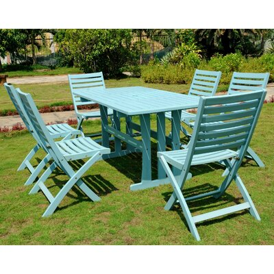 Marmol Acacia 7 Piece Patio Dining Set Color: Sky Blue