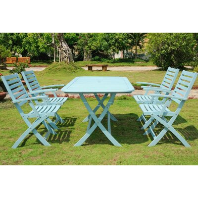 Marmol 5 Piece Dining Set Finish: Sky Blue