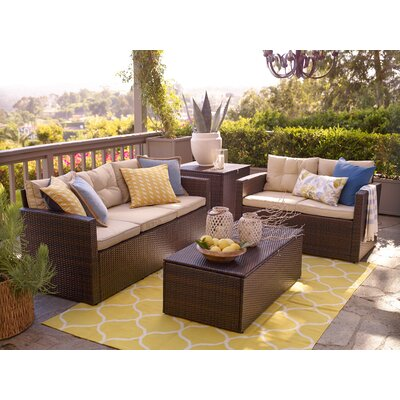 Minjares 4 Piece Sectional Seating Group with Cushion