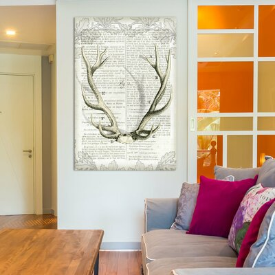 Regal Antlers on Newsprint I Graphic Art on Wrapped Canvas