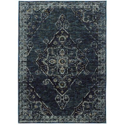 Tuma Medallion Blue Area Rug Rug Size: 8'6