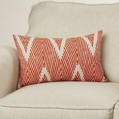 Aarhus 100% Cotton Throw Pillow Color: Coral / Taupe, Size: 11.5 H x 18.5 W