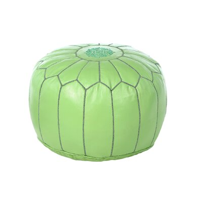 Carolos Pouf Leather Ottoman Upholstery: Lime Green