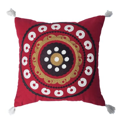 Manisha 100% Cotton Throw Pillow Color: Red