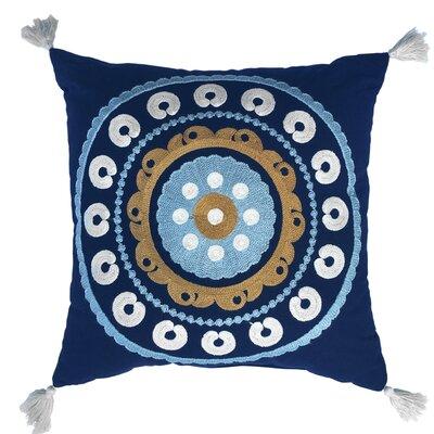 Manisha 100% Cotton Throw Pillow Color: Navy