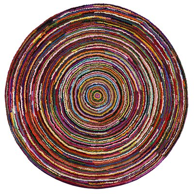 Gena Hand-Tufted Red/Pink/Blue Area Rug Rug Size: Round 6
