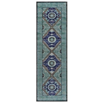 Jadida Blue/Green Area Rug Rug Size: Runner 2'6