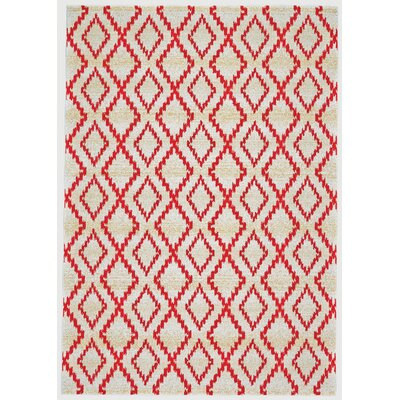 Yenene Apricot White & Red Area Rug Rug Size: Rectangle 8 x 11