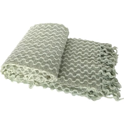 Laraoun Zigzag Crochet Fringed Throw Blanket Color: Green