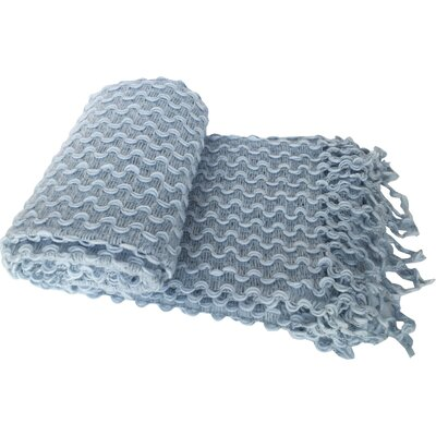 Laraoun Zigzag Crochet Fringed Throw Blanket Color: Blue