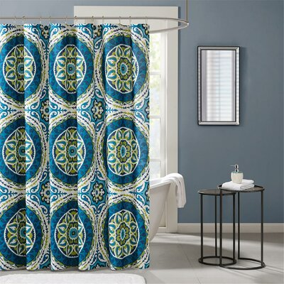 Taddart Printed Shower Curtain Color: Blue