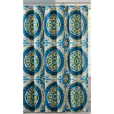 Keiko Printed Shower Curtain Color: Blue