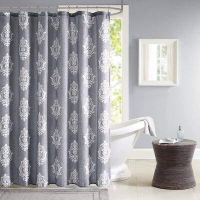 Amara Texture Printed Shower Curtain Color: Charcoal