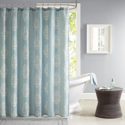Amara Texture Printed Shower Curtain Color: Aqua