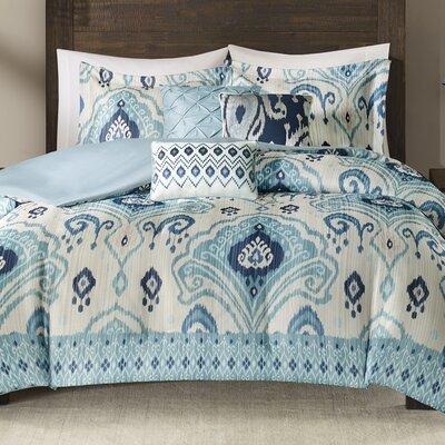 Kassia 6 Piece Duvet Cover Set Size: Full/Queen, Color: Blue
