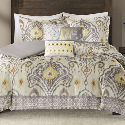 Kassia 6 Piece Duvet Cover Set Size: Full/Queen, Color: Yellow