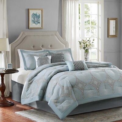 Kaya 7 Piece Comforter Set Size: King, Color: Blue