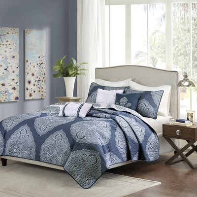 Main 6 Piece Coverlet Set Size: Full/Queen, Color: Navy Blue