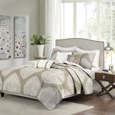 Main 6 Piece Coverlet Set Size: King/Cal King, Color: Taupe