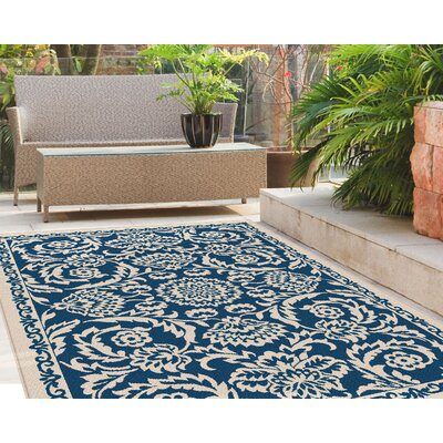 Kamal Navy Blue/Cream Indoor/Outdoor Area Rug Rug Size: Rectangle 53 x 73