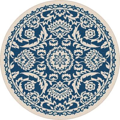 Kamal Navy Blue/Cream Indoor/Outdoor Area Rug Rug Size: Round 710
