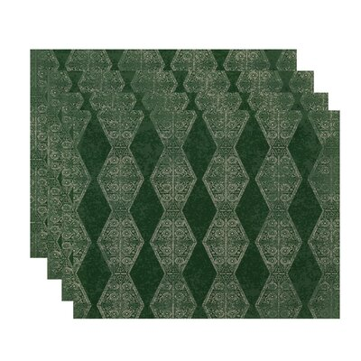 Soluri Pyramid Stripe Geometric Print Placemat Color: Green