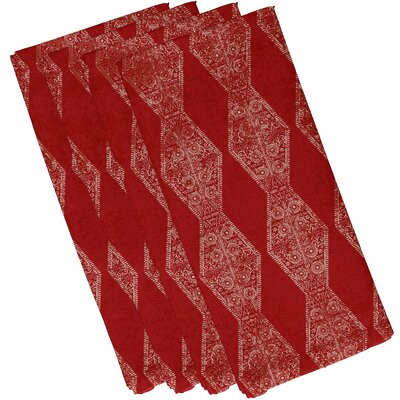 Soluri Pyramid Stripe Geometric Print Napkin Color: Red