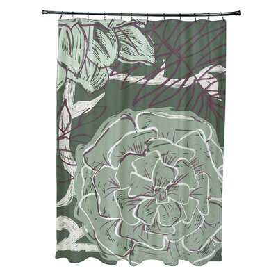 Katrina Shower Curtain Color: Green/Purple