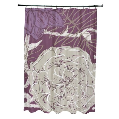 Katrina Shower Curtain Color: Purple/Taupe