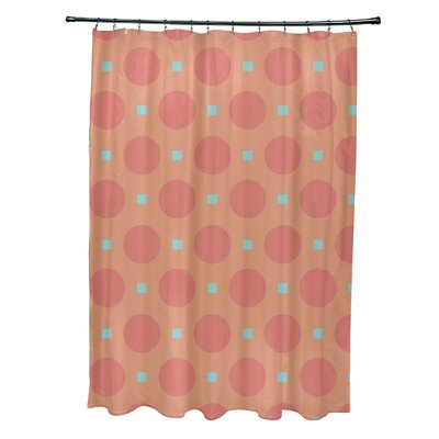Katrina Geometric Shower Curtain Color: Coral/Aqua