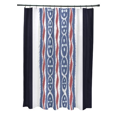 Arlington Stripes Shower Curtain Color: Navy Blue/Blue