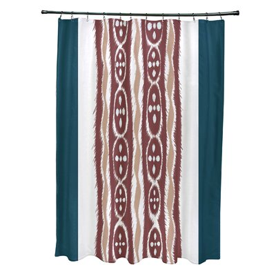 Arlington Stripes Shower Curtain Color: Teal/Rust