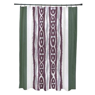 Arlington Stripes Shower Curtain Color: Green/Purple