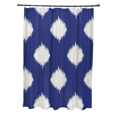 Christian Geometric Shower Curtain Color: Royal Blue/Ivory
