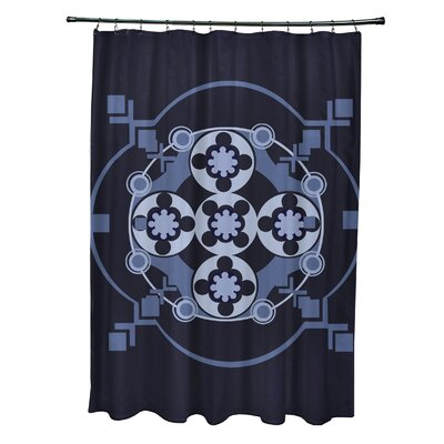 Anita Geometric Shower Curtain Color: Navy Blue/Blue