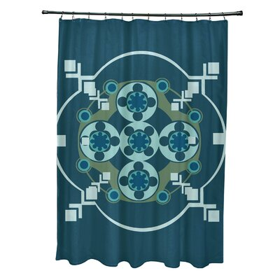 Anita Geometric Shower Curtain Color: Teal/Aqua