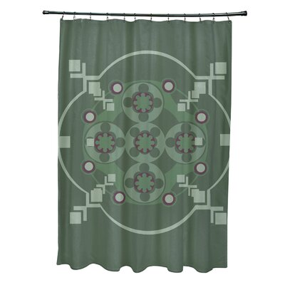 Anita Geometric Shower Curtain Color: Green