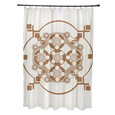 Anita Geometric Shower Curtain Color: Off White/Brown
