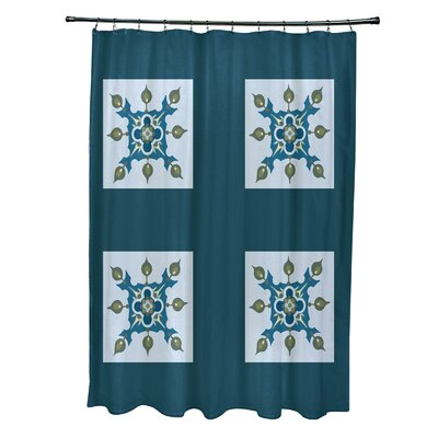 Anita Geometric Shower Curtain Color: Teal/Light Blue