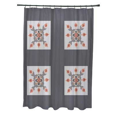 Anita Geometric Shower Curtain Color: Dark Gray/Light Gray