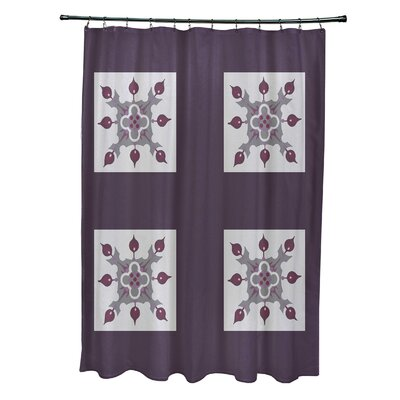 Anita Geometric Shower Curtain Color: Purple/Light Gray