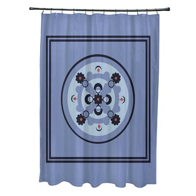 Anita Geometric Shower Curtain Color: Light Blue/Navy Blue