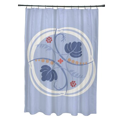 Katrina Shower Curtain Color: Light Blue/Coral