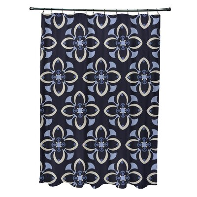 Katrina Shower Curtain Color: Navy Blue/Taupe