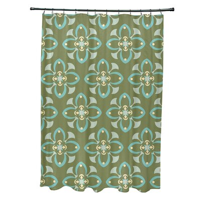 Katrina Shower Curtain Color: Green/Aqua