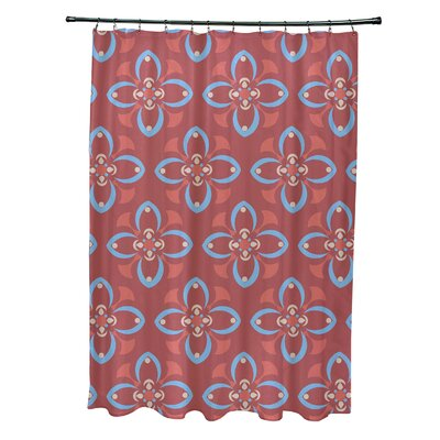Katrina Shower Curtain Color: Coral/Blue